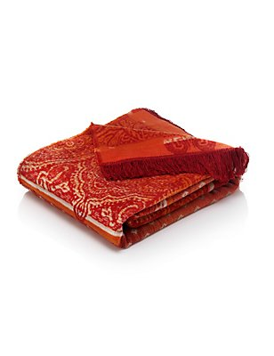 Paisley Fleece Throw, RED MIX, catlanding