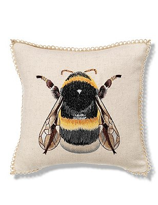 Bumblebee Embroidered Cushion, , catlanding
