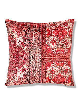 Floral & Tile Print Cushion, TERRACOTTA MIX, catlanding