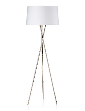 Chrome Tripod Floor Lamp, WHITE, catlanding