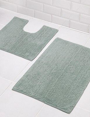 Cotton Bobble Bath Pedestal Mats, DUCK EGG, catlanding