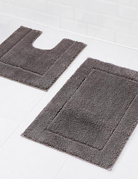 Quick Dry Bath & Pedestal Mats, CHARCOAL, catlanding