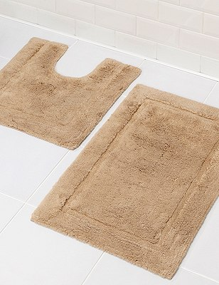 Pure Egyptian Cotton Bath & Pedestal Mats, MOCHA, catlanding