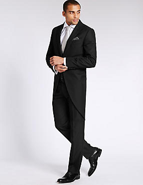 Black Tailored Fit Morning Suit Including Waistcoat, , catlanding