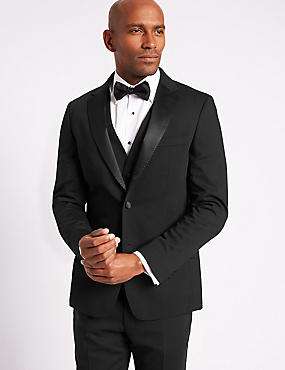 Black Slim Fit 3 Piece Tuxedo Suit, , catlanding