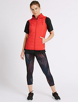 Tie Front T-Shirt & Cropped Leggings Set with Padded Gilet, , catlanding