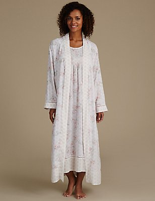 Pure Modal Floral Print Dressing Gown & Nightdress Set, , catlanding