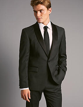 Charcoal Tailored Fit Italian Wool Tuxedo Suit, , catlanding