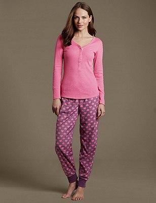 Henley Neck Pyjama Set, , catlanding