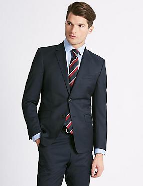 Navy Textured Slim Fit Wool 3 Piece Suit , , catlanding
