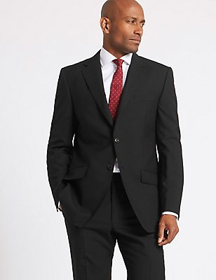 Black Regular Fit Wool Suit, , catlanding