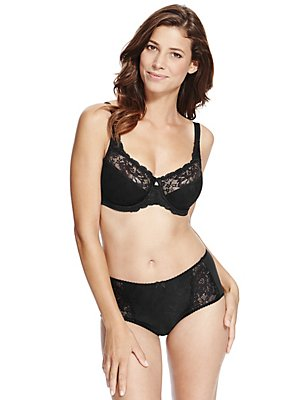 Floral Jacquard Lace Set with Non-Padded Full Cup DD-H, , catlanding