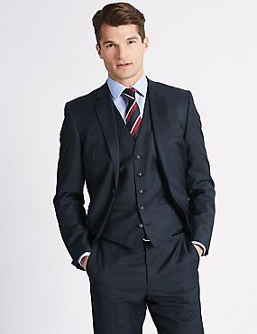 Navy Slim Fit Wool 3 Piece Suit, , catlanding