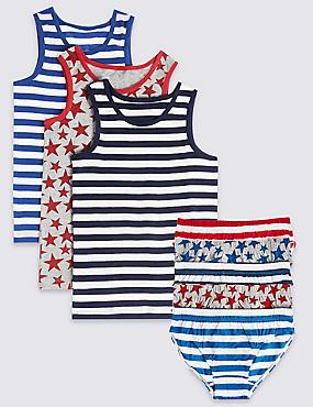 Set aus Unterhemden und Slips im Sternen-und-Streifen-Design, , catlanding