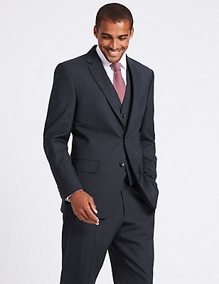 Navy Striped Tailored Fit Suit, , catlanding