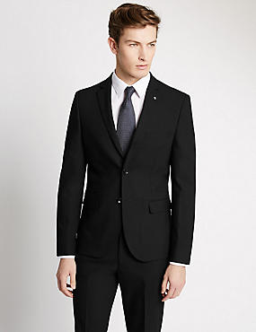 Black Textured Modern Slim Fit Suit , , catlanding