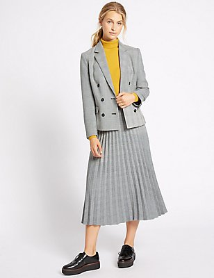 Checked Jacket & Skirt Set, , catlanding
