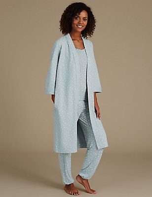 Leaf Print Pyjama Set with Dressing Gown, , catlanding