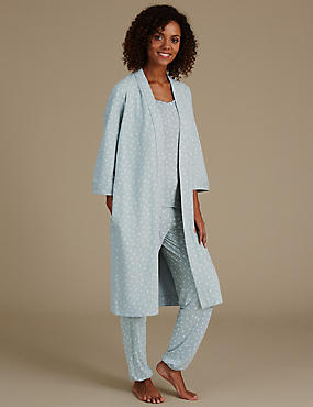 Set aus Pyjama und Morgenmantel mit Blattmotiv, , catlanding