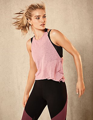 Active Elastic Back Vest Top & Leggings Set, , catlanding