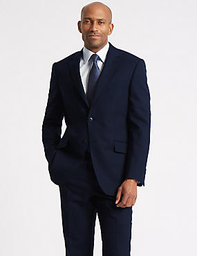Navy Regular Fit Wool Suit, , catlanding
