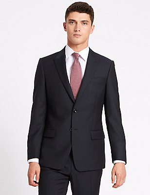 Navy Herringbone Slim Fit Wool Suit, , catlanding