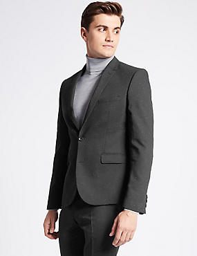 Grey Textured Modern Slim Fit Suit, , catlanding