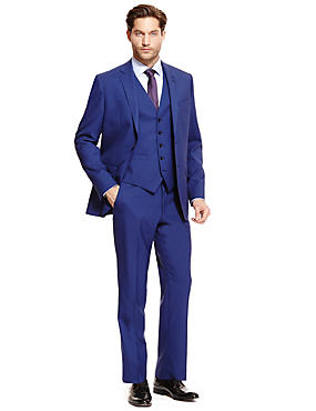 Cool Wool™ Blue Tailored Fit Suit Including Waistcoat