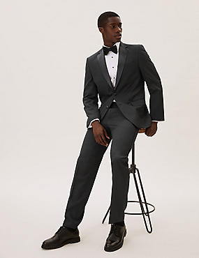 Black Regular Fit Tuxedo Suit, , catlanding