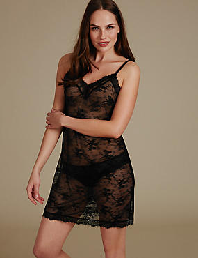 Eyelash Lace Slip Set, , catlanding