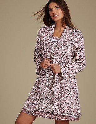 Floral Print Dressing Gown & Chemise Set, , catlanding