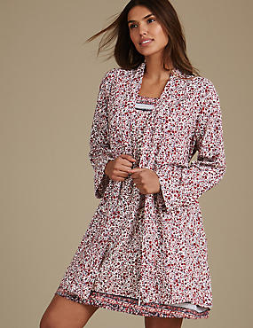 Set aus Chemise-Kleid und Morgenmantel mit Blumenmuster, , catlanding