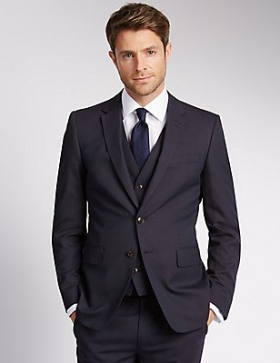 Blue Slim Fit 3 Piece Suit, , catlanding