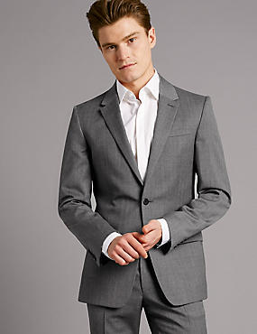 Grey Textured Slim Fit Wool Suit, , catlanding