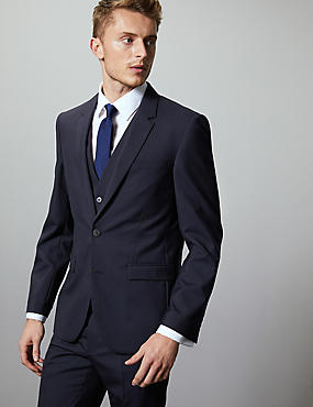 Navy Slim Fit Italian Wool 3 Piece Suit, , catlanding