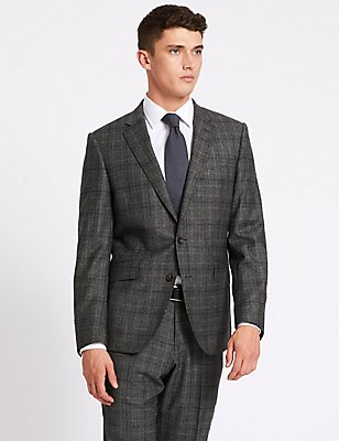 Charcoal Checked Tailored Fit Wool Suit, , catlanding