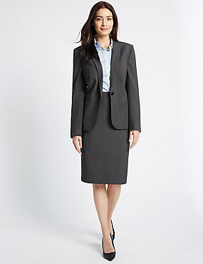 Seam Stitch Blazer & Skirt Set, , catlanding
