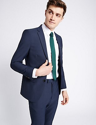 Blue Textured Modern Slim Fit Suit , , catlanding