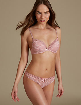 Lace Set with Padded Plunge A-E, , catlanding