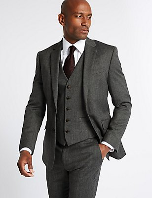 Grey Textured Slim Fit 3 Piece Suit, , catlanding