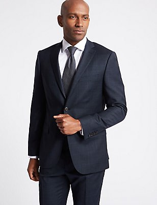 Navy Checked Slim Fit Wool Suit, , catlanding