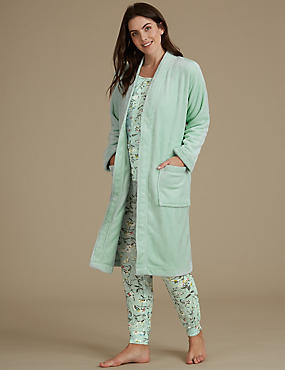 Floral Print Pyjama Set with Dressing Gown, , catlanding
