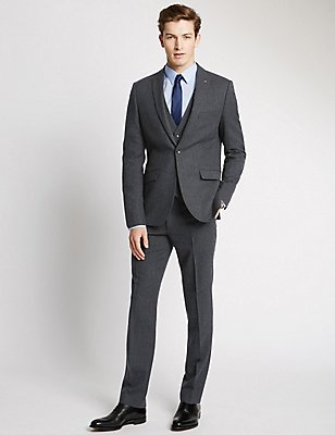 Navy Textured Modern Tailored Fit Suit with Waistcoat, , catlanding