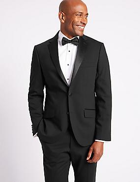Black Tailored Fit Tuxedo Suit, , catlanding