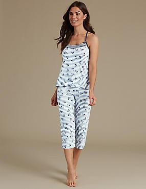 Floral Print Strappy Pyjama Set, , catlanding