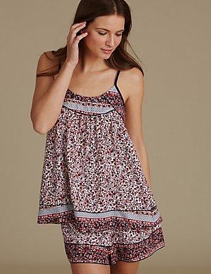 Kort pyjamasetje met hemdje en bloemmotief, , catlanding