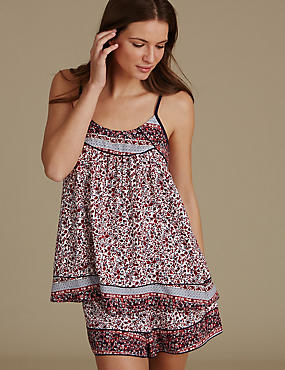 Floral Print Camisole Short Pyjama Set, , catlanding