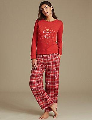 Pyjamaset met lange mouwen en print, , catlanding