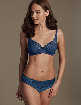 Jacquard Lace Set with Underwired Full Cup A-DD