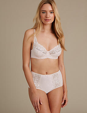 Floral Jacquard & Lace Set with Underwired A-DD, , catlanding